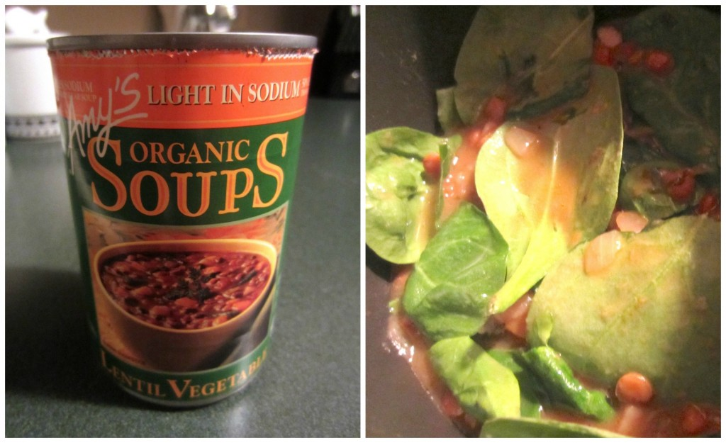 adding spinach to lentil vegetable soup