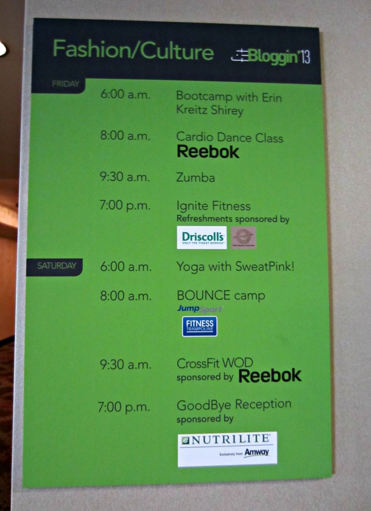 FitBloggin Schedule 2013