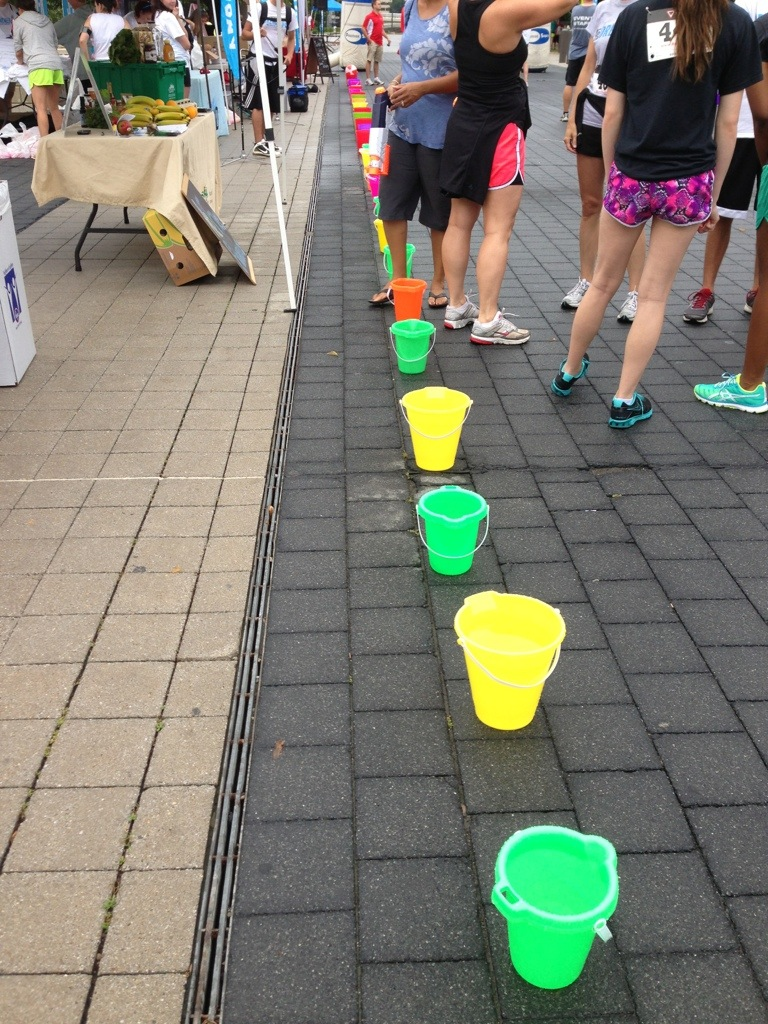 Drenched 5K line of buckets