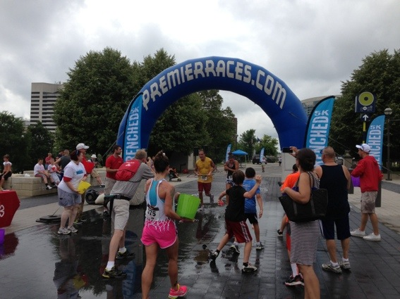 Drenched 5K finish line Columbus