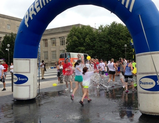 Run Drenched finish line