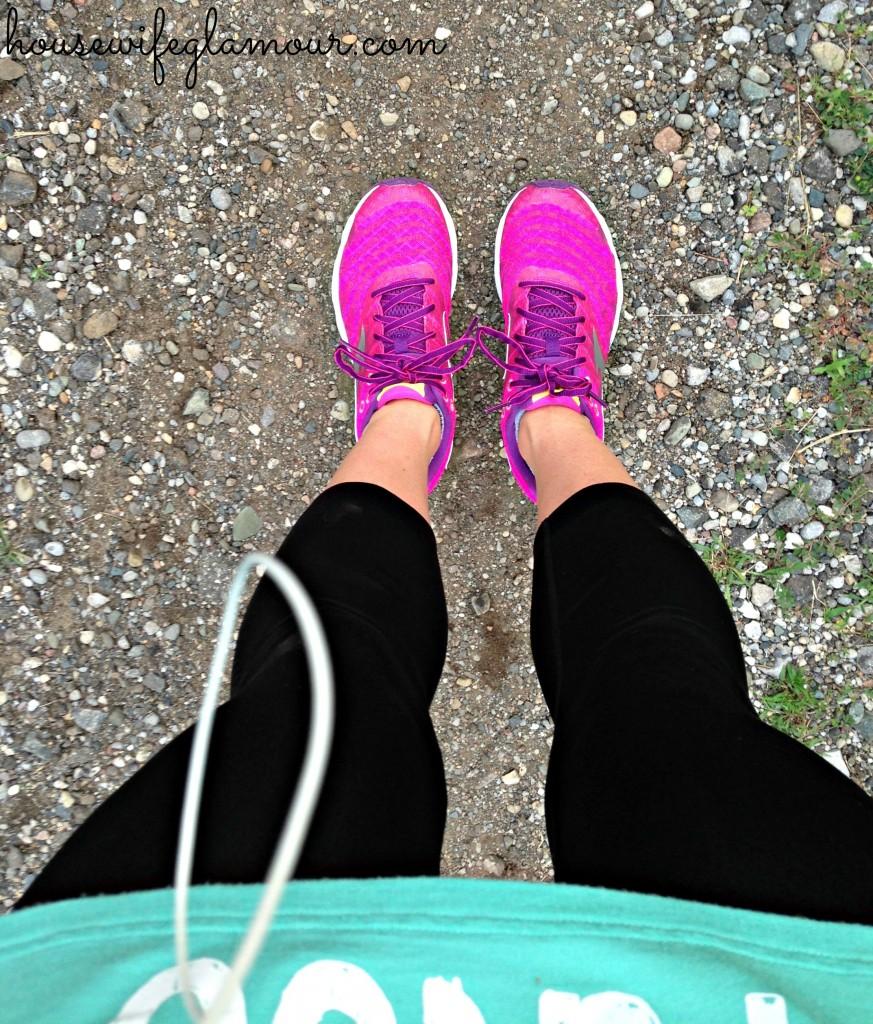 Mizuno running shoes on trail
