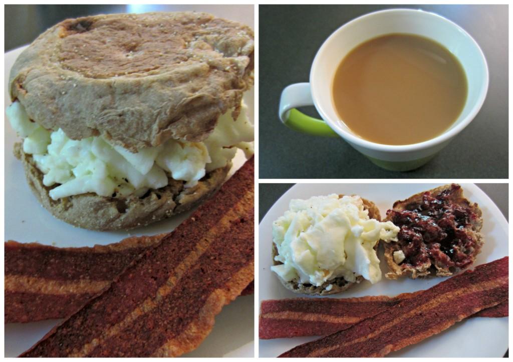healthy breakfast sandwich and coffee