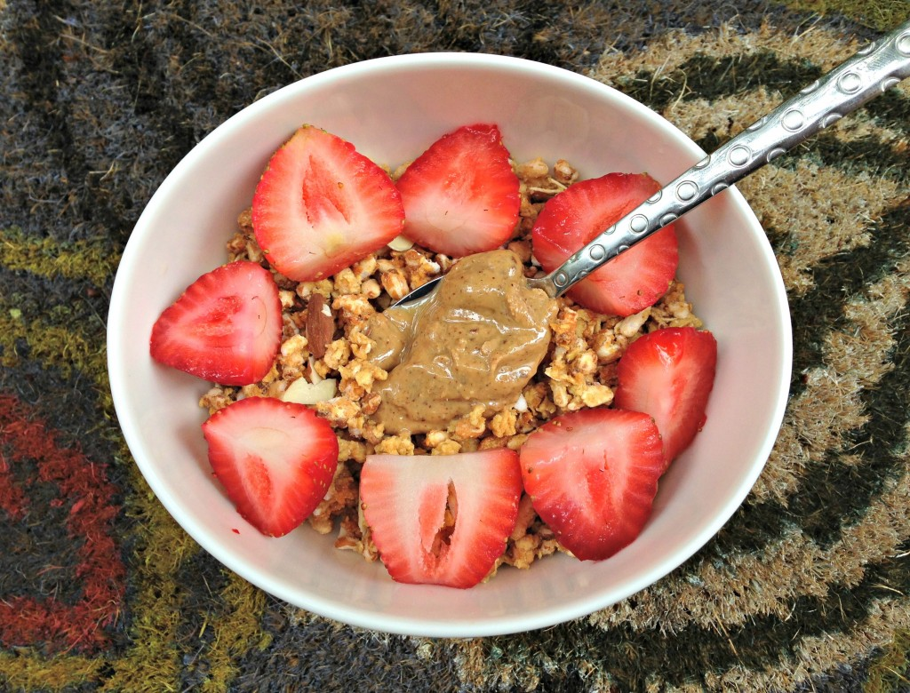 Kashi Go Lean Vanilla Crunch cereal with fruit and nut butter