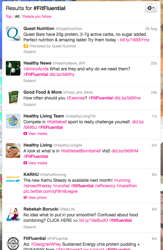 Twitter hashtag #FitFluential