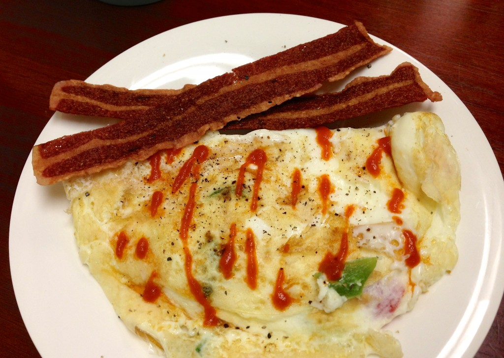 egg white omelet with peppers and turkey bacon