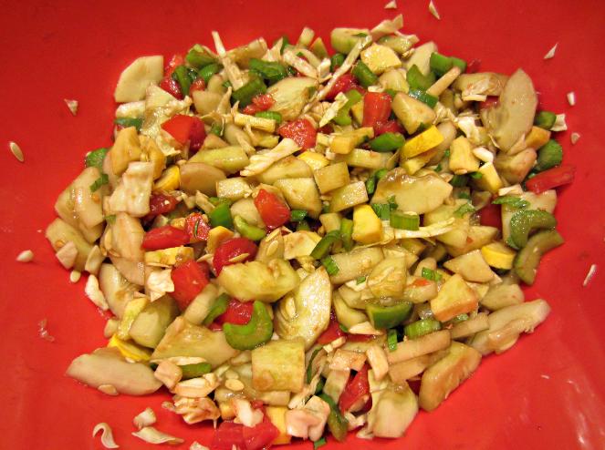 fresh vegetable salad with olive oil