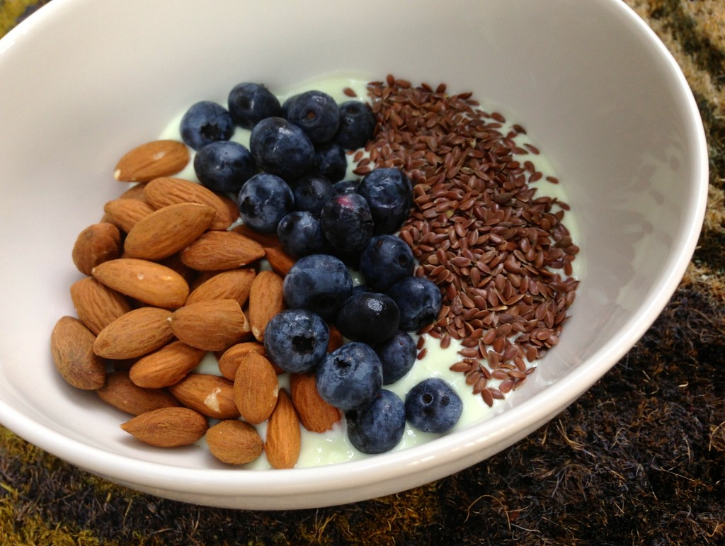 yogurt, fruit, almonds and seeds breakfast