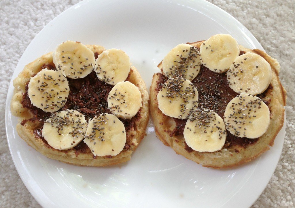 Gluten-Free Waffles with choc peanut butter