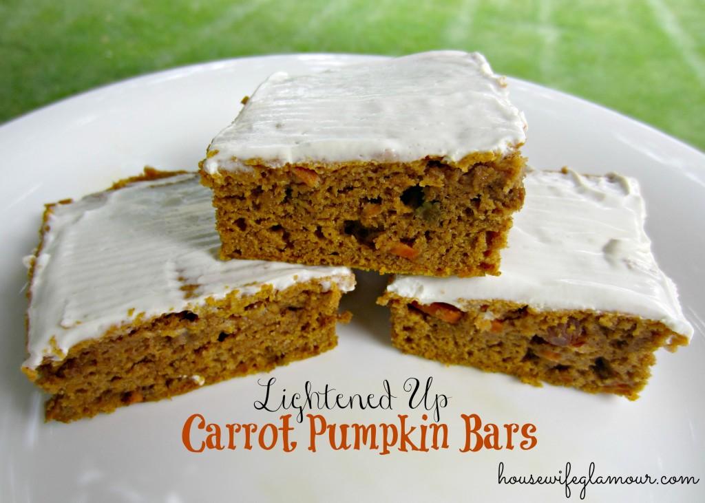 Lightened Up Carrot Pumpkin Bars