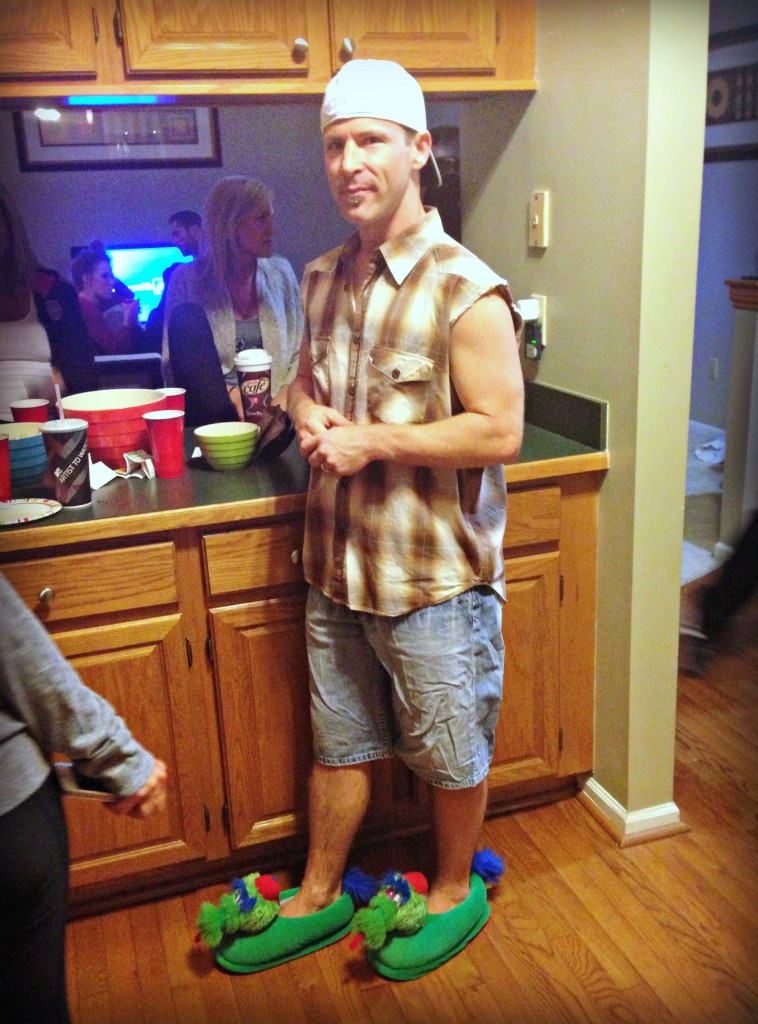 Scott dressed like joe dirt