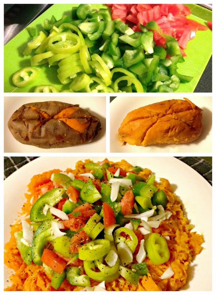 veggie loaded sweet potato dinner