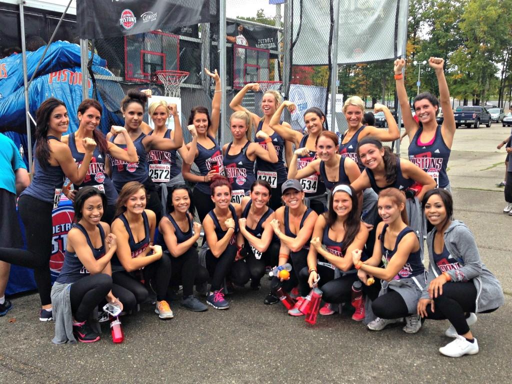 Detroit Pistons Dancers run Pistons Fit 5K