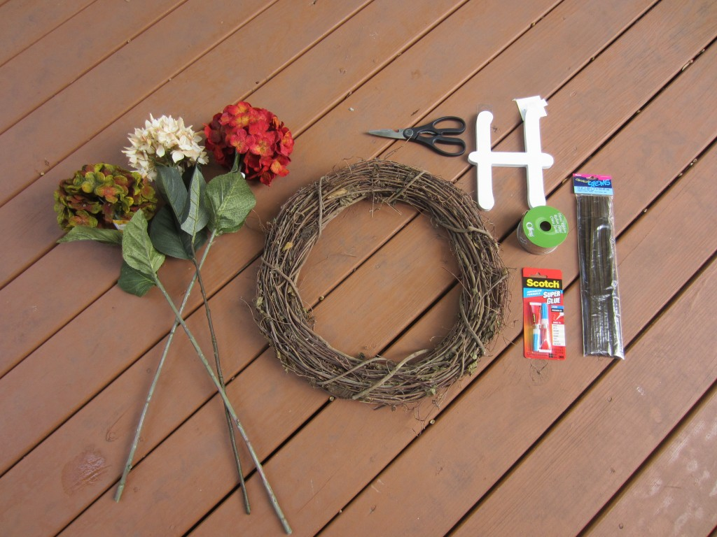 craft supplies for DIY wreath