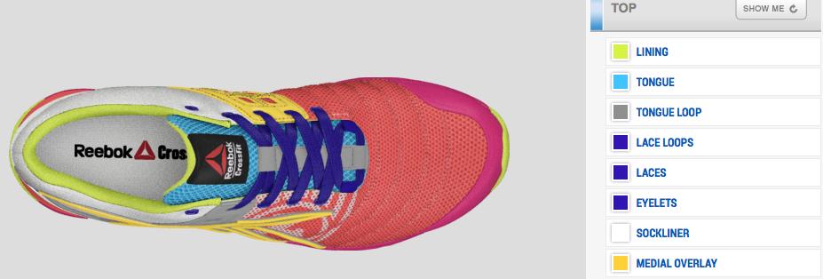 Reebok Customized Shoe options