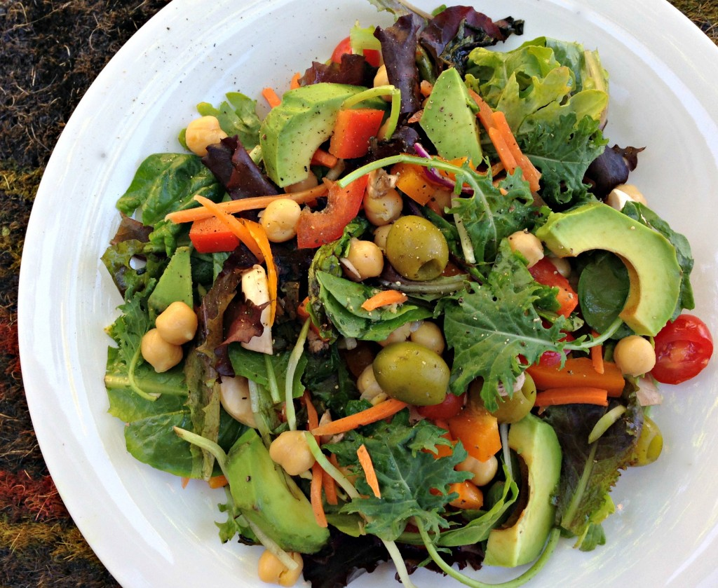 healthy salad with lots of vegetables