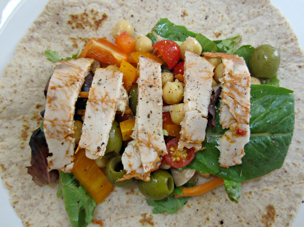 healthy turkey and vegetable wrap for lunch