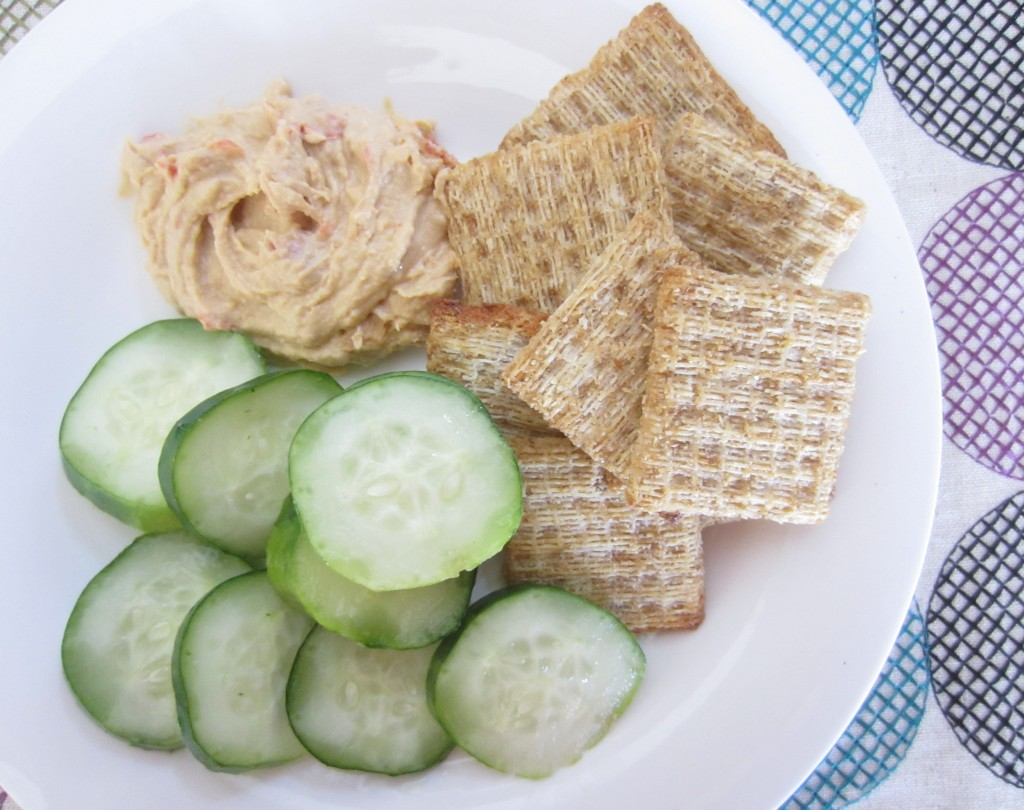 cucumbers and hummus