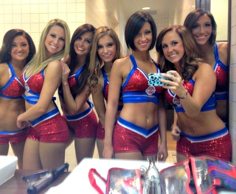 pistons dancers getting ready in locker room