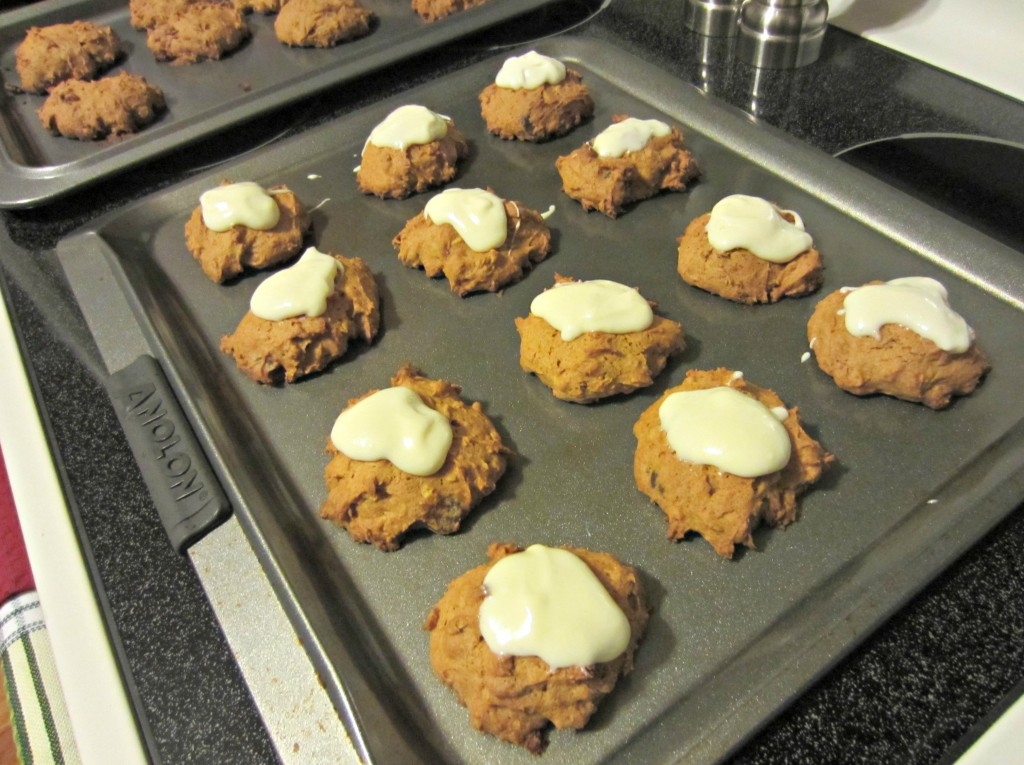 pumpkin choc chip cookies with cream cheese frosting