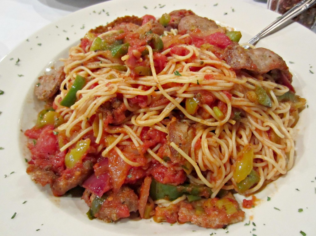 spicy angel hair pasta with italian sausage
