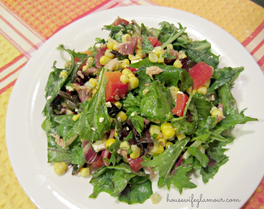 Roasted Corn and Bacon Wild Greens Salad