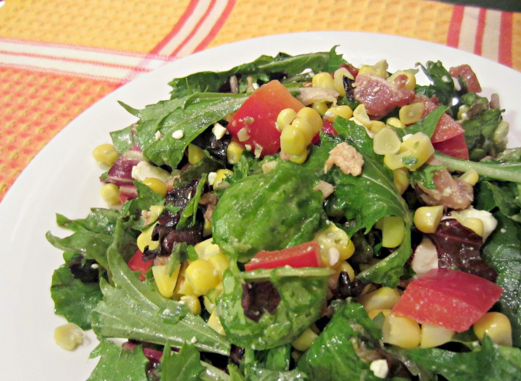 Roasted Corn and Bacon salad closeup