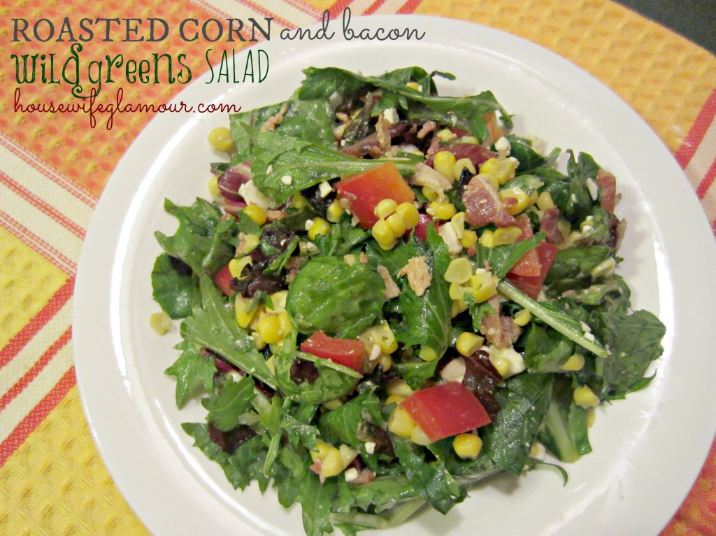 Roasted Corn and Bacon wild greens salad recipe