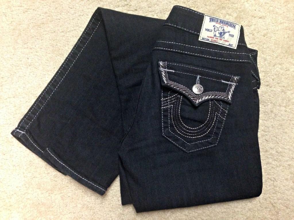True Religion skinny jean with silver stitching