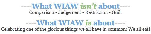 WIAW Disclaimer