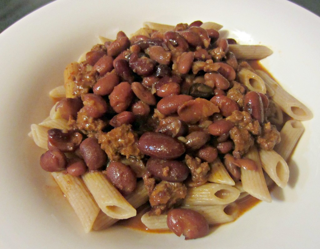 chili and beans over whole wheat penne