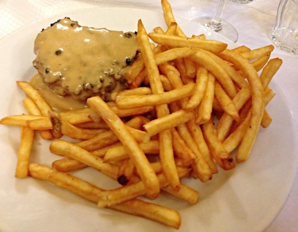 Steak dinner Chartier Restaurant Paris