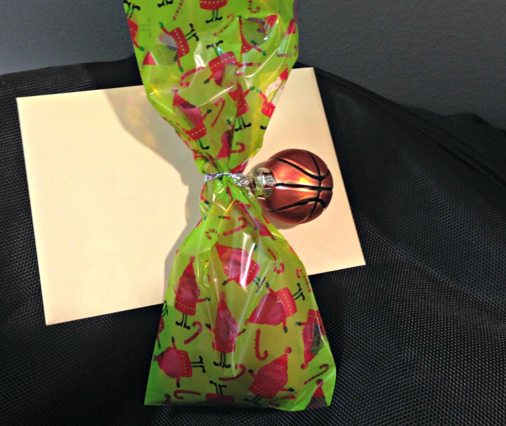 cute christmas present with basketball ornament