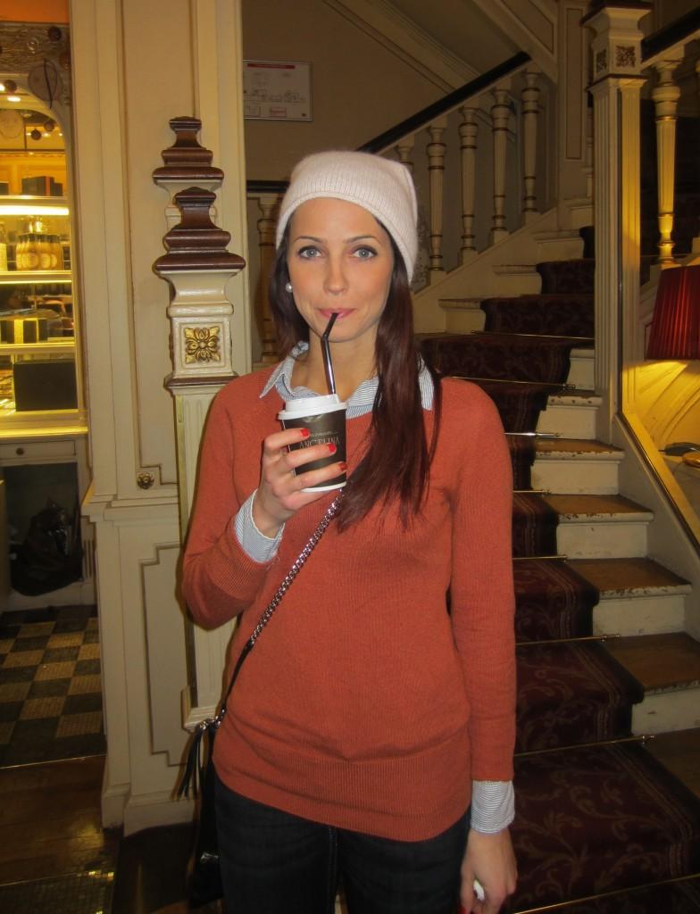 drinking angelina hot chocolate