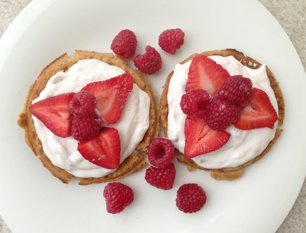 gluten free waffles and berries