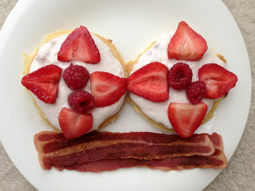 gluten free waffles with greek yogurt and berries