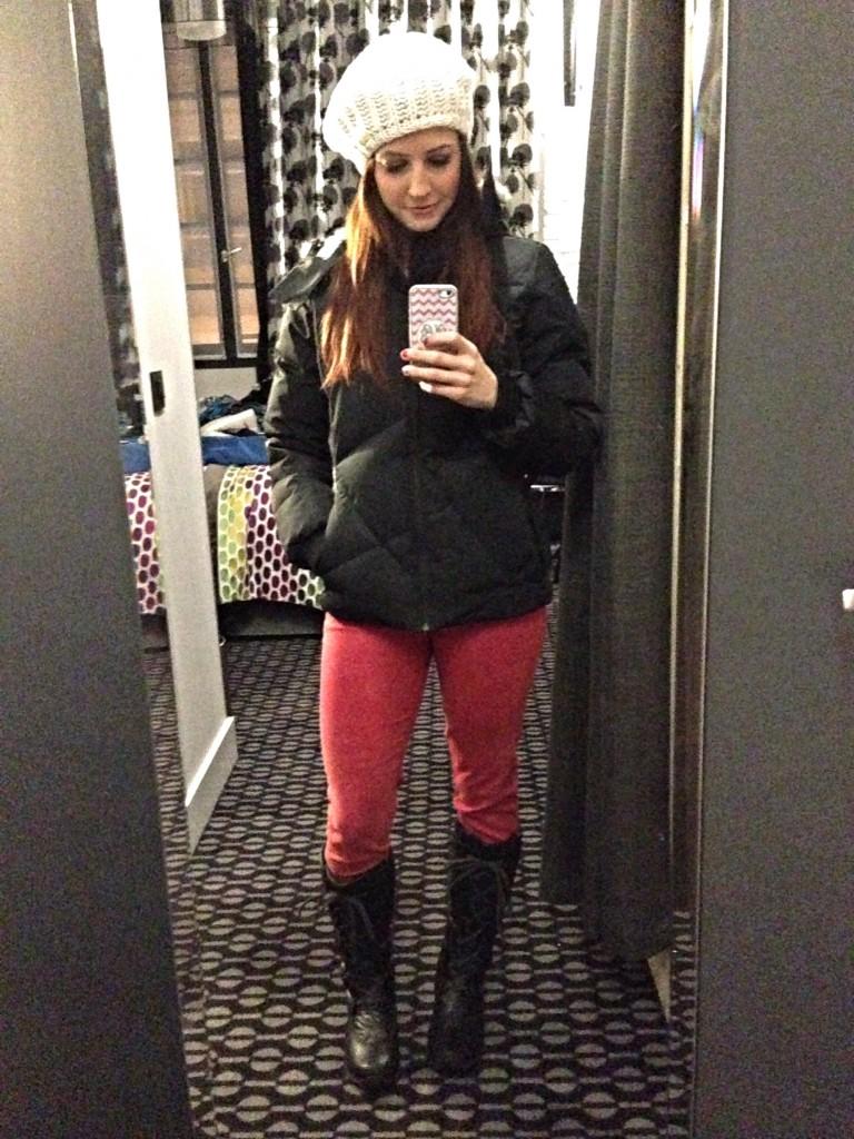 heather ready to walk in rainy Paris