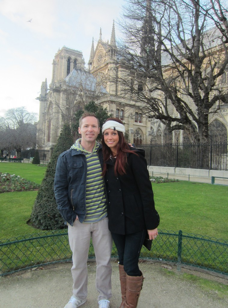 in front of cathedral notre dame