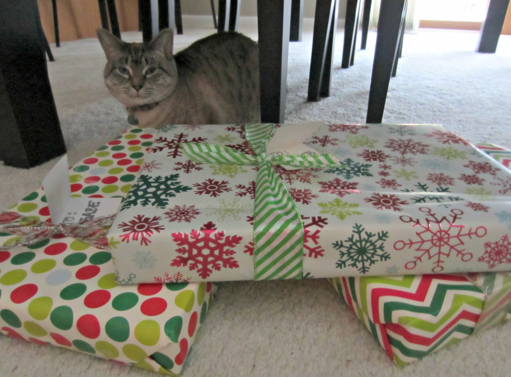 pets helping wrap presents