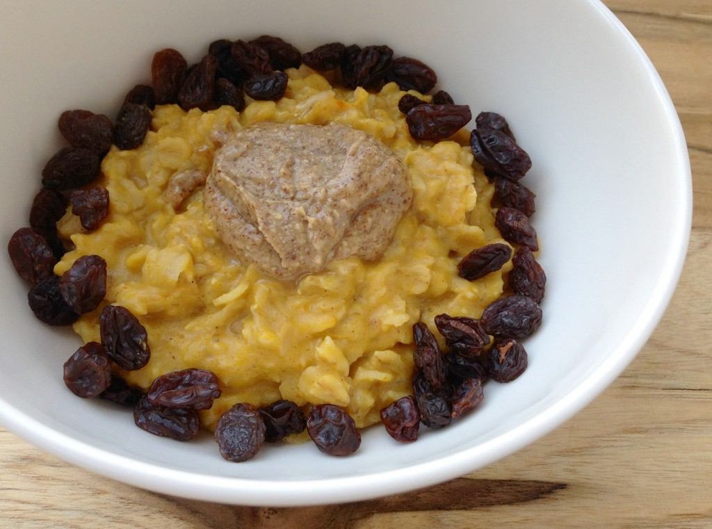 pumpkin oatmeal with raising and almond butter