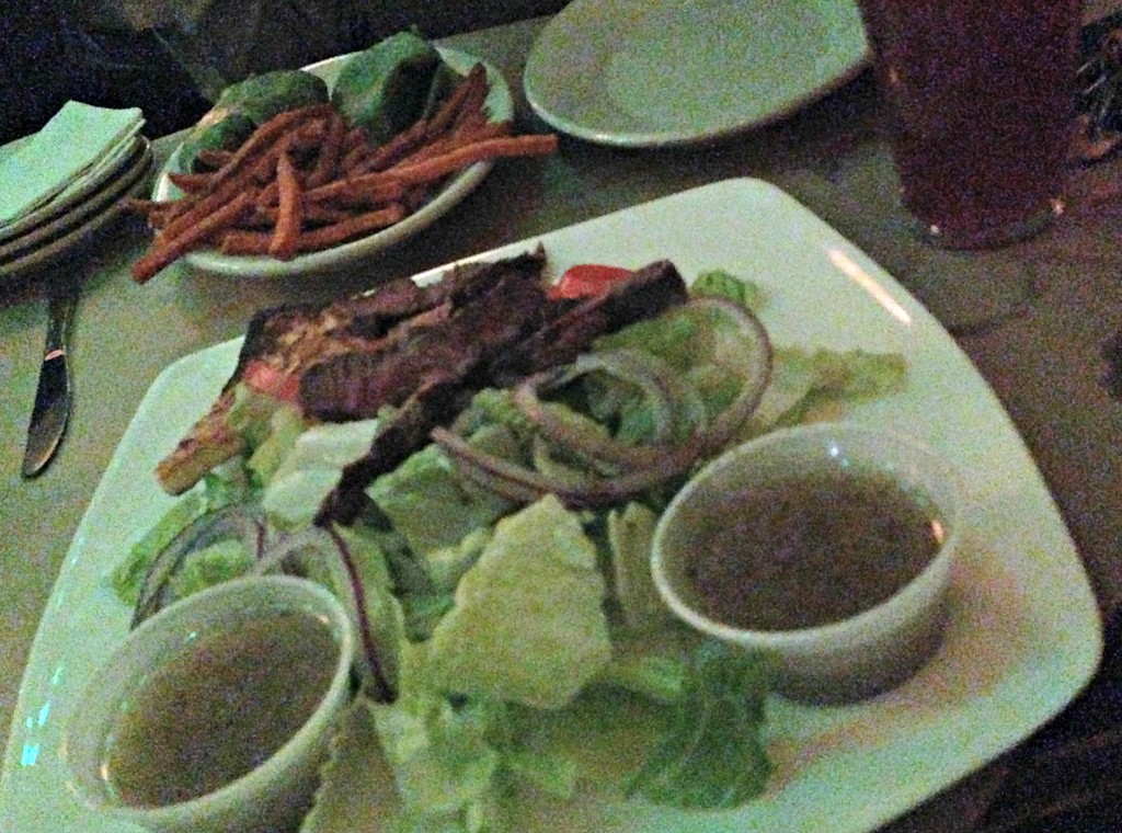 steak salad and sweet potato fries