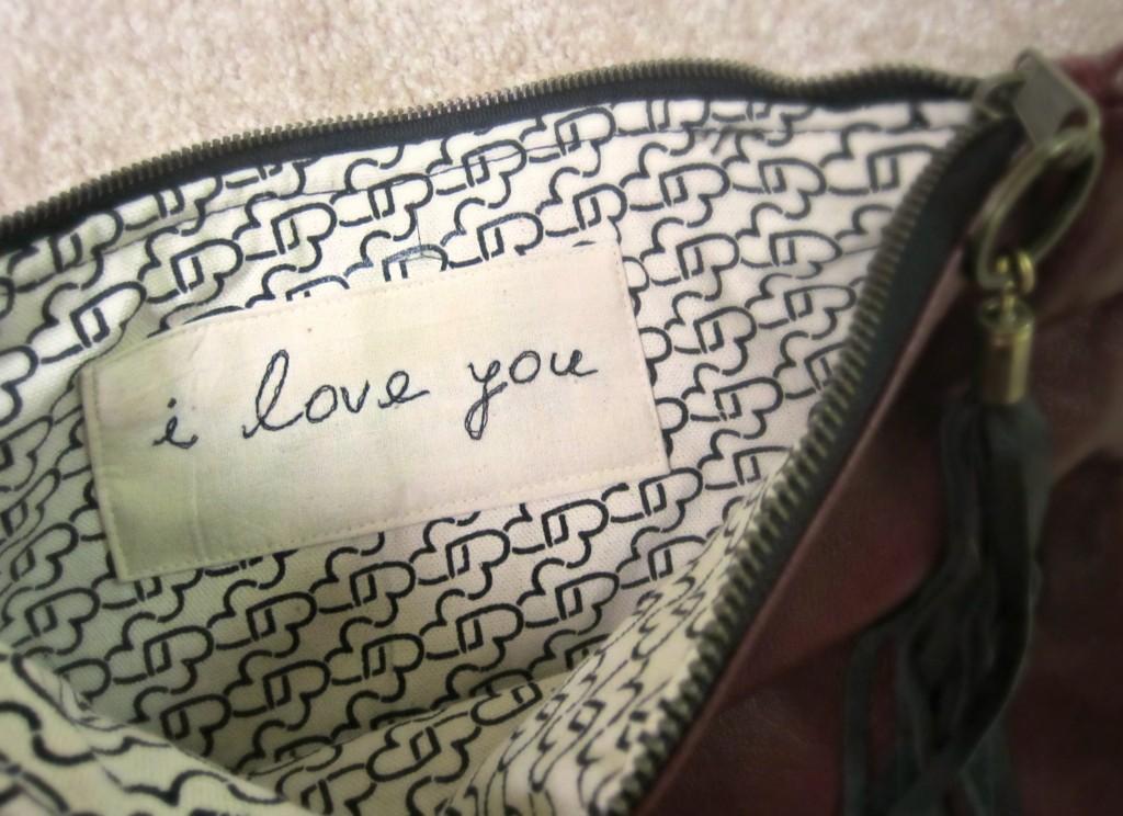 Hearts I Love You Clutch inside