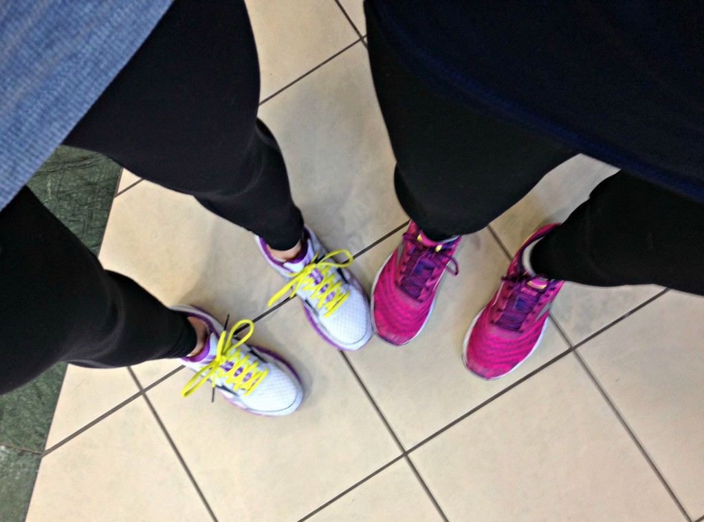 gym with mom and mizuno running sneakers