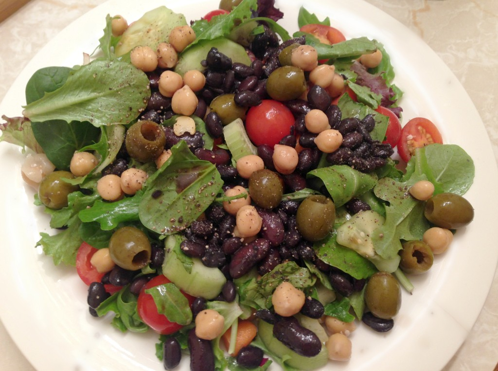 monster salad with beans and olives