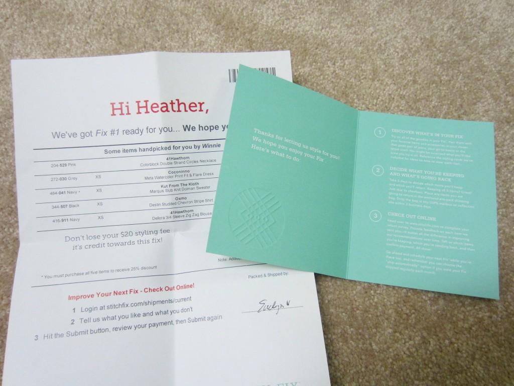stitch fix item checklist