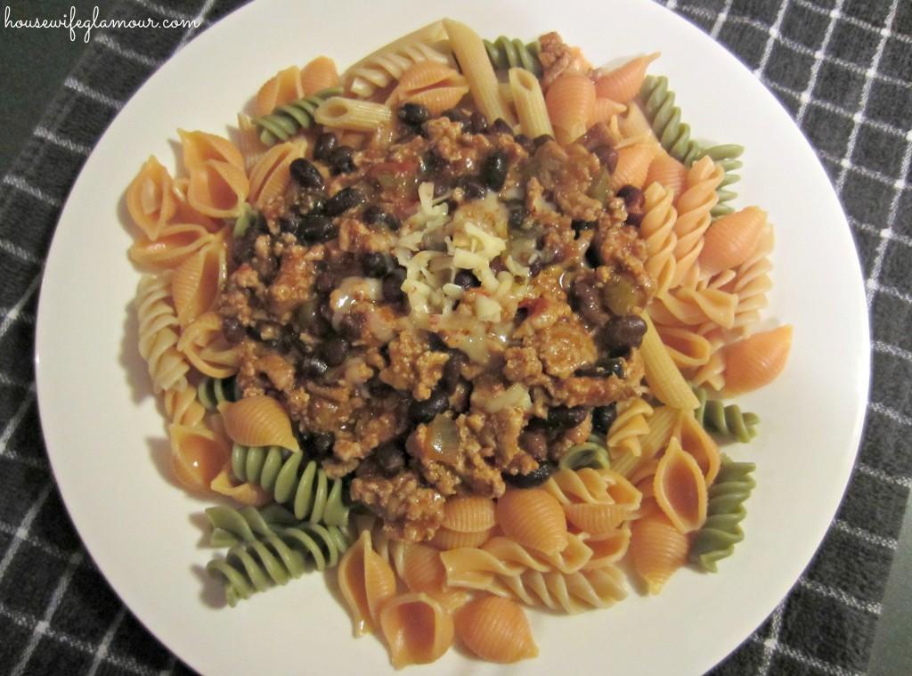 turkey chili over veggie noodles