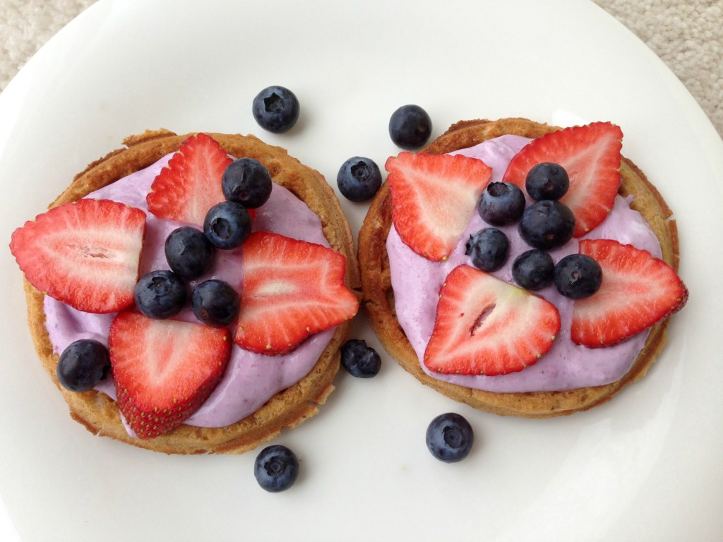vans waffles with yogurt and fruit