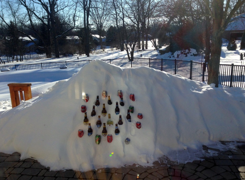 cooling drinks in snow