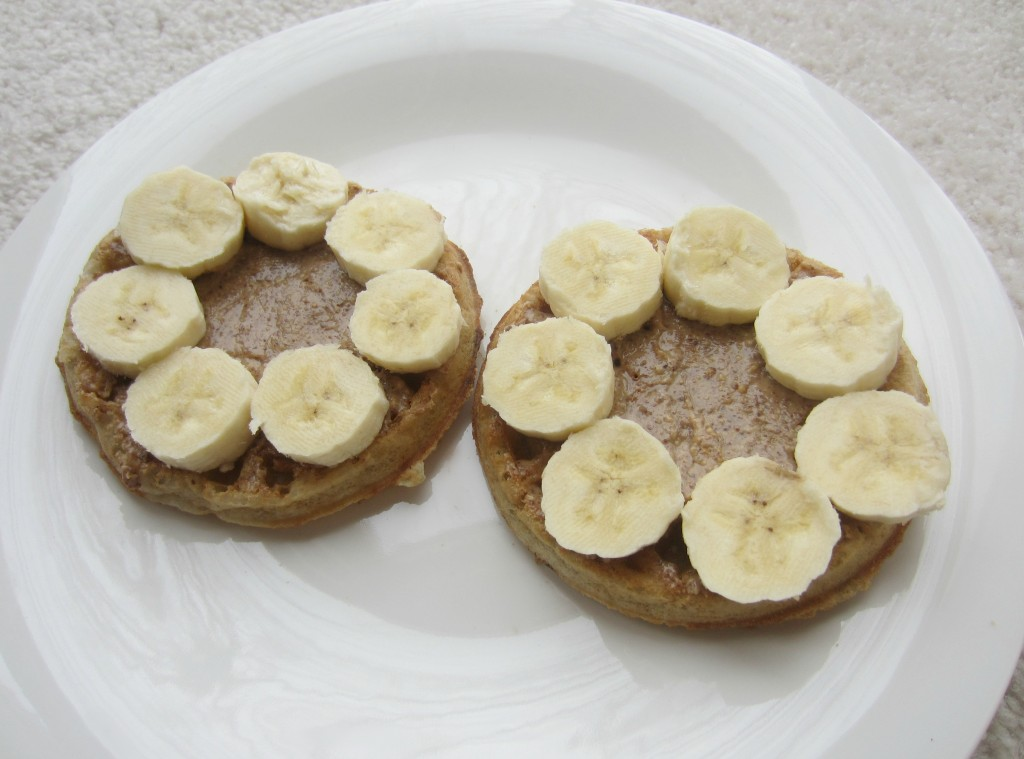 gluten free waffles with almond butter and bananas