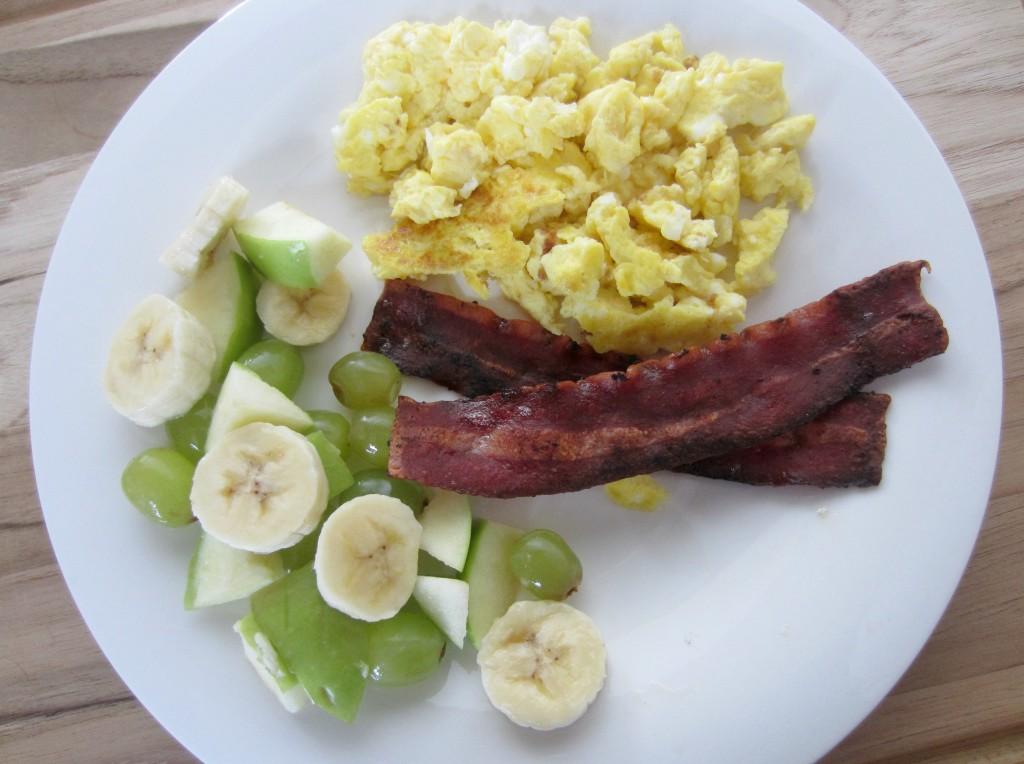 healthy breakfast scrambled eggs and turkey bacon